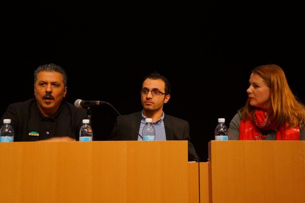 From left to right, at Hebrew University's Truman Institute Jan. 17: Syrian opposition member Issam Zeitoun, who lives in the village of Bet Jan near the border with Israel; Sirwan Kajjo, a Syrian-Kurdish author; and Member of Knesset Ksenia Svetlova (Zionist Union). Credit: Reuven Remez/Truman Institute.