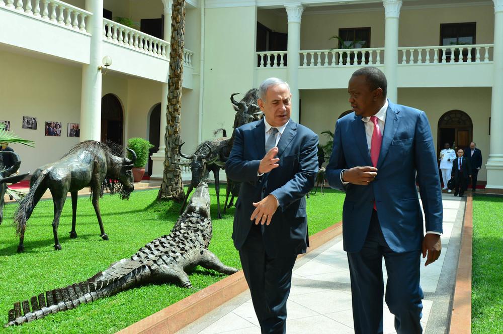 Israeli Prime Minister Benjamin Netanyahu meets with Kenyan President Uhuru Kenyatta in Nairobi last July, during the Israeli leader's multi-nation trip to Africa. Credit: Kobi Gideon/GPO.