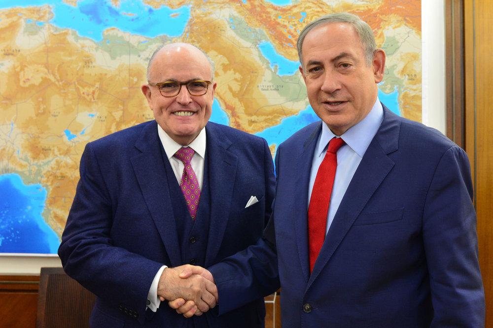 Israeli Prime Minister Benjamin Netanyahu meets with Rudy Giuliani at the prime minister's office in Jerusalem Jan. 26, 2017. Credit: Kobi Gideon/GPO.