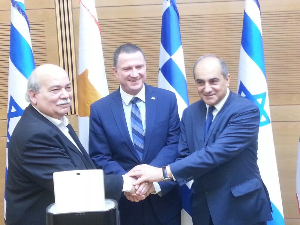 From left to right, Hellenic Parliament President Nikolaos Voutsis,  Knesset Speaker Yuli Edelstein and Cyprus House of Representatives President Demetris Syllouris meet Thursday in Jerusalem. Credit: Yuli Edelstein via Twitter.