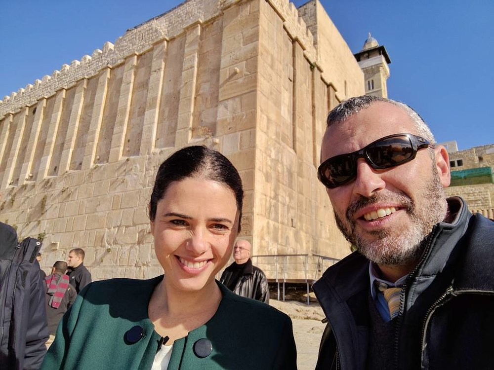 Yishai Fleisher in Hebron with Israeli Minister of Justice Ayelet Shaked. Credit: Courtesy of Yishai Fleisher.