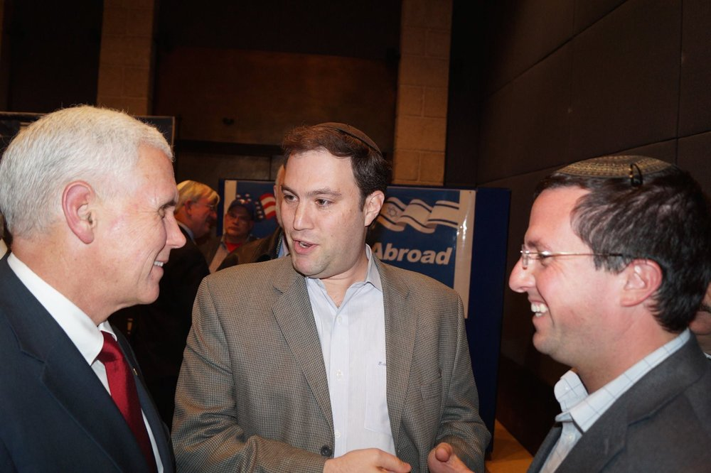 Elie Pierpz (center) with Vice President Mike Pence (left) in Israel. Credit: Courtesy of Elie Pierpz.