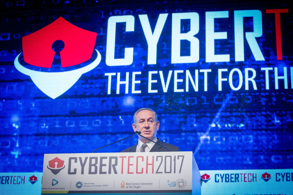 Israeli Prime Minister Benjamin Netanyahu speaks Jan. 31 at the Cybertech conference in Tel Aviv. Credit: Miriam Alster/Flash90.