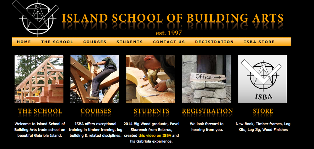 The website of Canada's Island School of Building Arts. Credit: Island School of Building Arts.