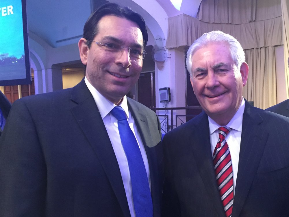 Israeli Ambassador to the U.N. Danny Danon (left) with U.S. Secretary of State Rex Tillerson. Credit: Permanent Mission of Israel to the United Nations.