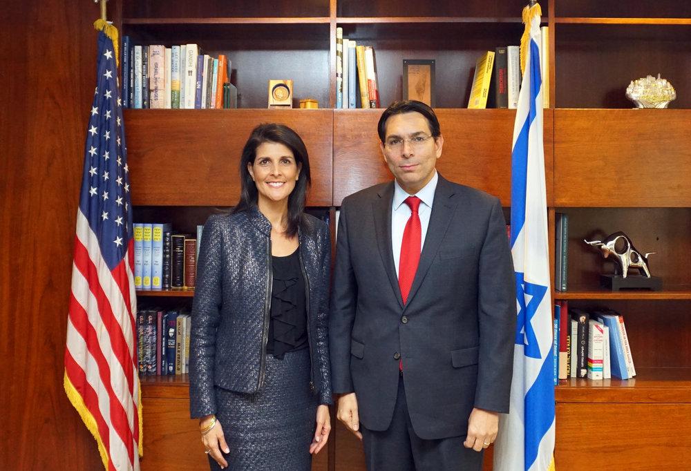 U.S.Ambassador to the U.N. Nikki Haley and Israeli Ambassador to the U.N. Danny Danon at their meeting last week. Credit: GPO.
