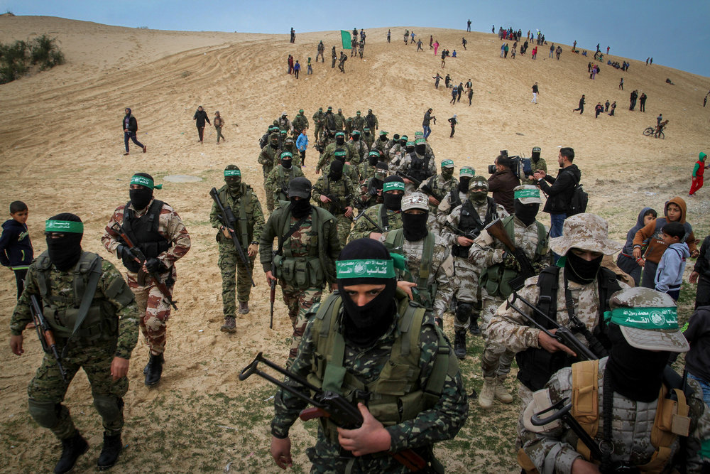 Members of the Hamas terror group's Ezzedine al-Qassam Brigades are pictured in the southern Gaza Strip town of Rafah Jan. 31, 2017. Credit: Abed Rahim Khatib/Flash90.