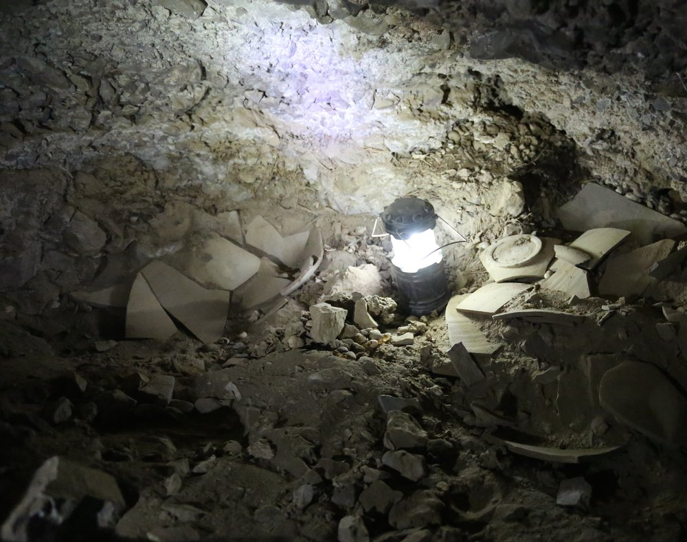 Fragments of jars that contained stolen scrolls at the newly discovered 12th Dead Sea Scrolls cave. Credit: Casey L. Olson and Oren Gutfeld.