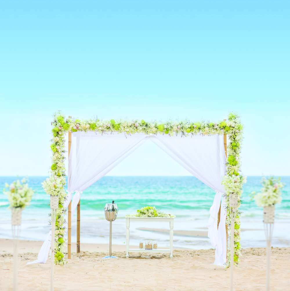 A Jewish wedding chuppah on a beach. Credit: Maloman Studios.