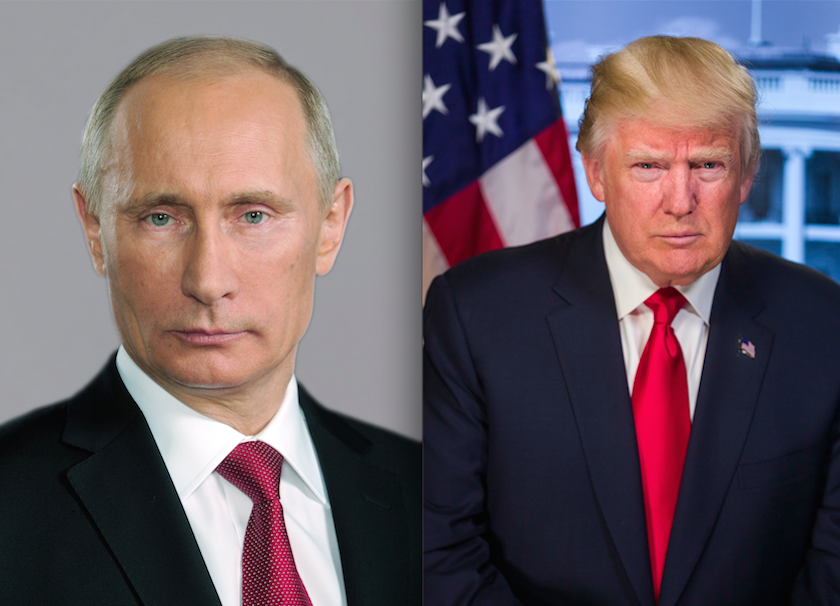 "Russian President Vladimir Putin (left) and U.S. President Donald Trump. In Trump's pre-Super Bowl interview with Bill O'Reilly of Fox News, Trump reiterated his respect for Russian dictator President Vladimir Putin. When O'Reilly noted that Putin is ""a killer,"" Trump retorted, ""There are a lot of killers. You think our country's so innocent?"" Credit: Kremlin.ru and White House."