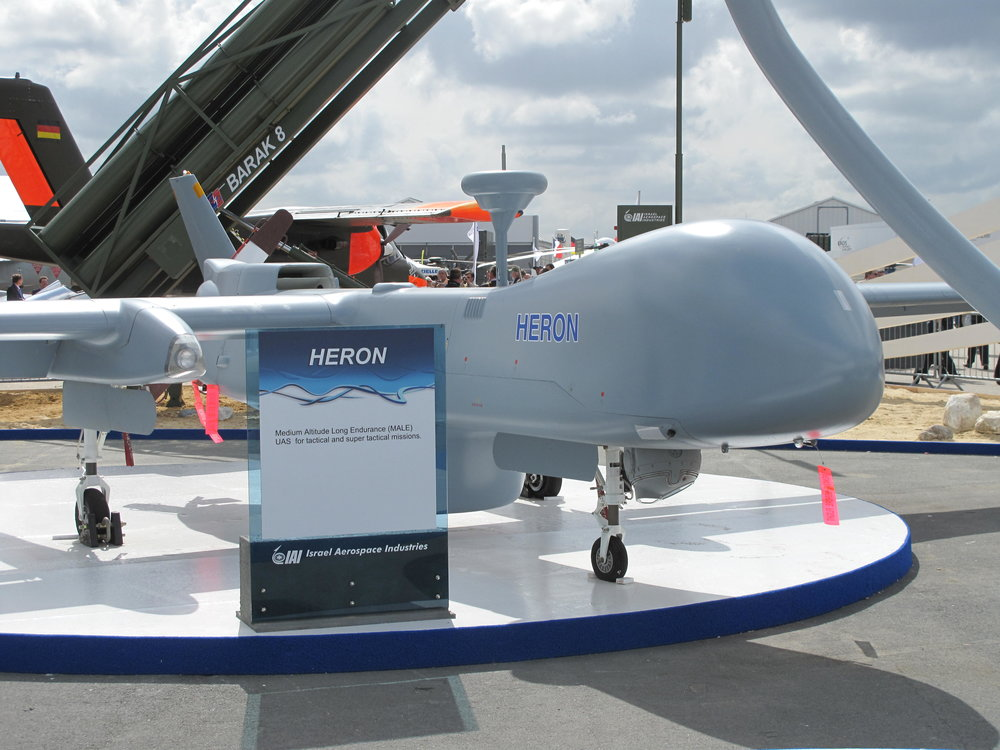 An Israel Aerospace Industries Heron drone on display at the Paris Air Show in 2009. Credit: Tangopaso via Wikimedia Commons.