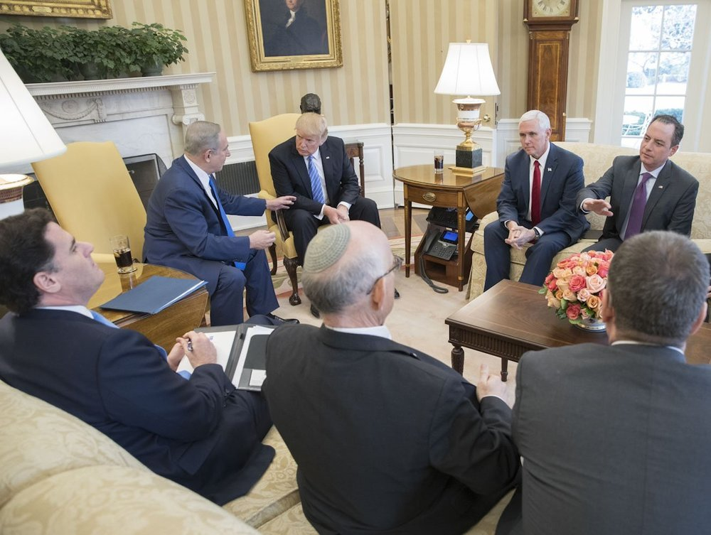 Israeli and American officials, including Prime Minister Benjamin Netanyahu and President Donald Trump, meet Wednesday at the White House. Credit: Prime Minister Benjamin Netanyahu Twitter page.