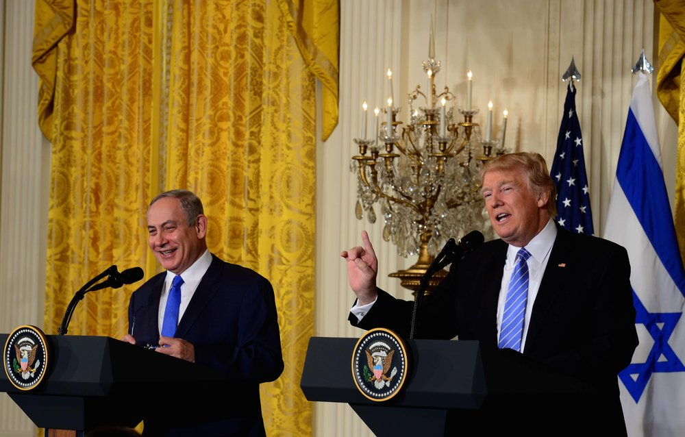 Prime Minister Benjamin Netanyahu and President Donald Trump hold a joint press conference at the White House Feb. 15, 2017. Credit: Avi Ohayon/GPO.