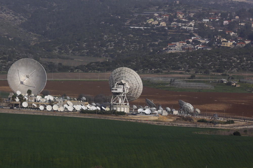 A view of a satellite station in Israel's Ha-Ella Valley Feb.22,2014. Credit:Nati Shohat/Flash 90.