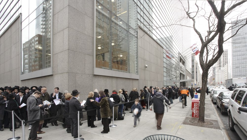 The line to view the Valmadonna collection outside Sotheby's in New York, before the collection was sold to Israel's national library. Credit: Sotheby's.
