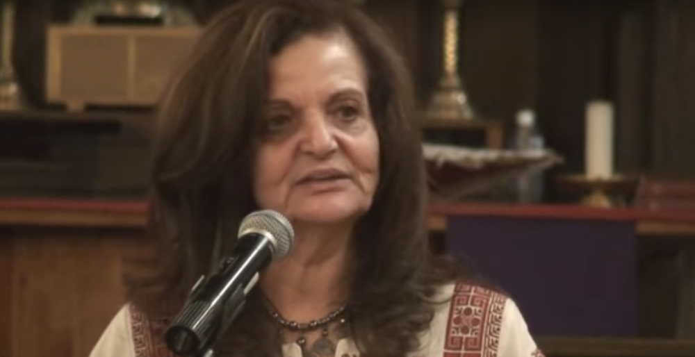 Convicted Palestinian terrorist Rasmea Odeh speaks in March 2016. Credit: YouTube screenshot.