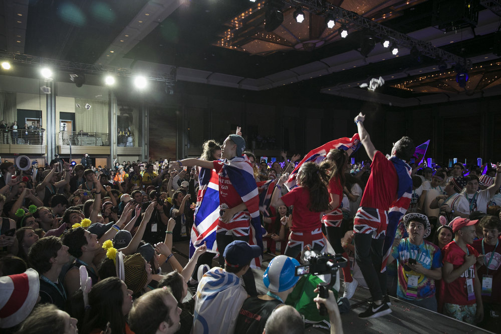 The British delegation on stage during the opening ceremony of the BBYO International Convention Feb. 16. Credit: Jason Dixson Photography.