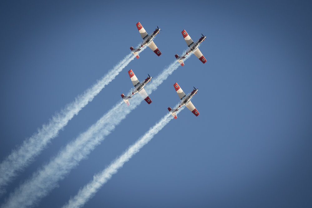 Israeli Air Force T-6 Texan II planes fly in formation during an aerial show at the Hatzerim Air Base in the Negev Dec. 29, 2016. Credit Miriam Alster/Flash90.