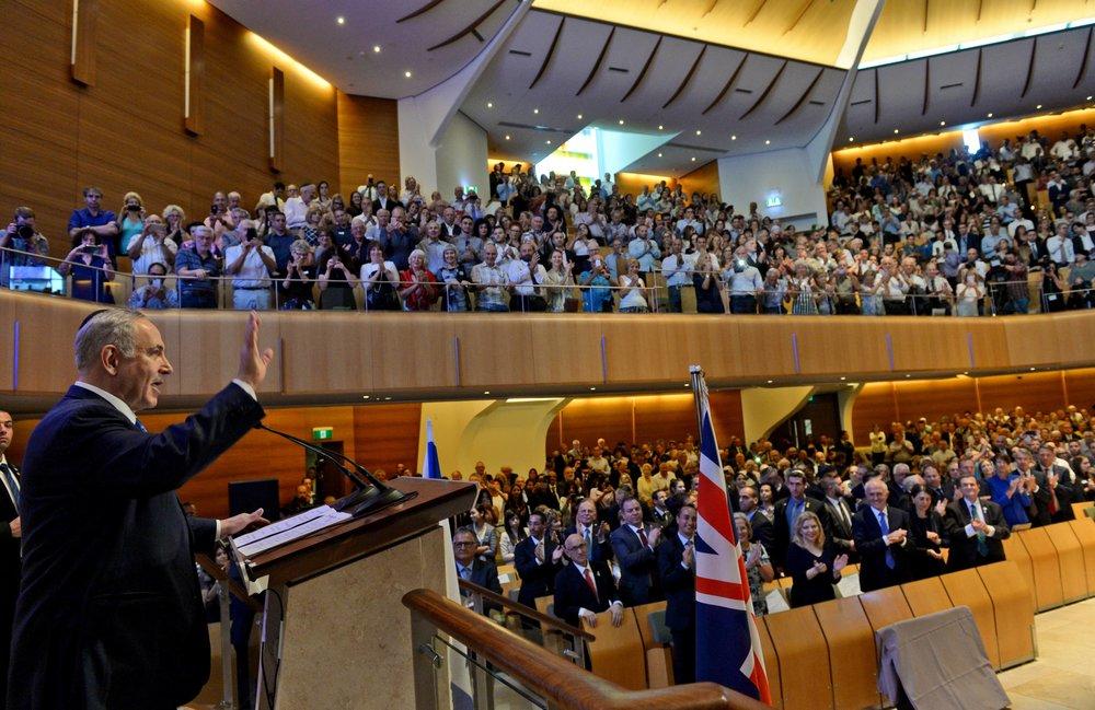 Israeli Prime Minister Benjamin Netanyahu (left) speaks at the Central Synagogue in Sydney, Australia, Feb. 22, 2017. Credit: Haim Zach/GPO.