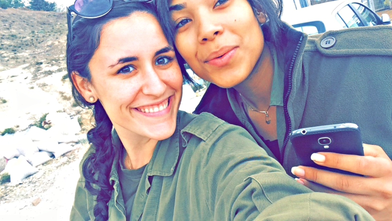 Dana Grob (left), a former Israeli lone soldier from New York, and Natalie Adjei. Credit: Dana Grob.