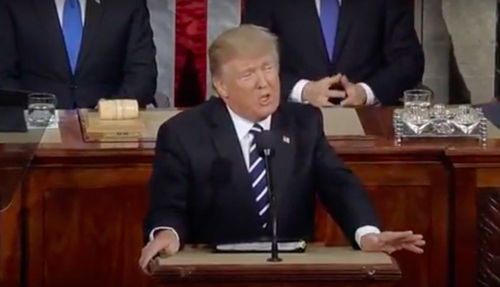 President Donald Trump addresses Congress Tuesday. Credit: YouTube.