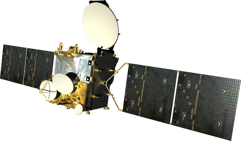 The Israeli company Spacecom's Amos-3 communications satellite. Credit: Spacecom via Tsahi Ben-Ami/Flash90.