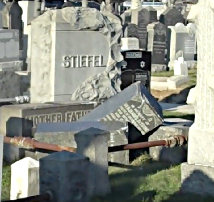 Overturned headstones at Washington Cemetery, a Jewish cemetery in Brooklyn, N.Y., in December 2010. Credit: YouTube.