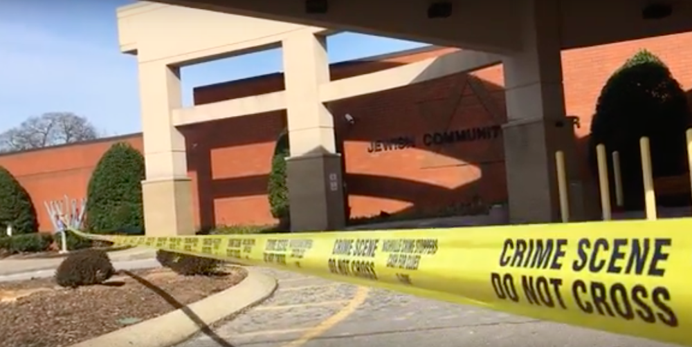 The scene outside the JCC in Nashville, Tenn., following a bomb threat Jan. 9. Credit: YouTube.