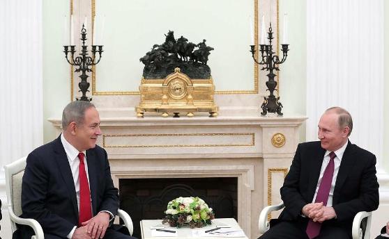 Prime Minister Benjamin Netanyahu (left) and President Vladimir Putin meet Thursday in Moscow. Credit:Prime Minister Benjamin Netanyahu via Twitter.