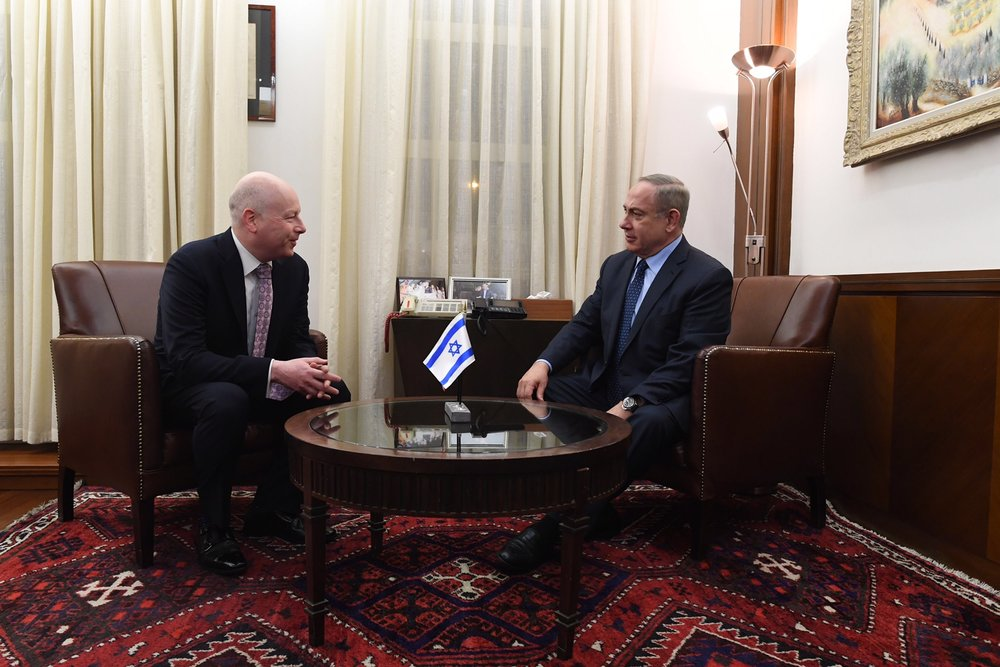 Jason Greenblatt (left), President Donald Trump's international negotiations adviser, meets with Israeli Prime Minister Benjamin Netanyahu in Jerusalem Monday night. Credit: Kobi Gideon/GPO.