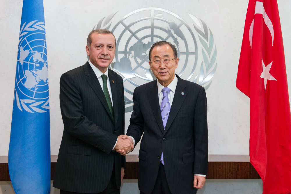 Turkish President Recep Tayyip Erdogan (left) shakes hands with United Nations Secretary-General Ban Ki-moon Sept. 22, 2014. Despite the Islamist values that Erdoğan has promoted during the past decade, Turkey remains globalized and deeply embedded into international institutions, writes JNS.org columnist Ben Cohen. Credit: UN Photo/Amanda Voisard.