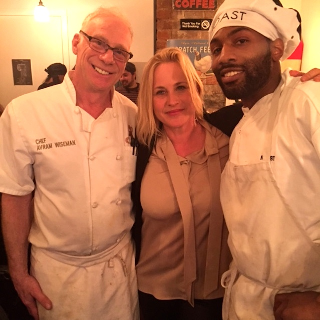 From left to right, Chef Avram Wiseman, actress Patricia Arquette and one of Wiseman's students at the Roast restaurant in New York City. Credit: Courtesy of Chef Avram Wiseman.