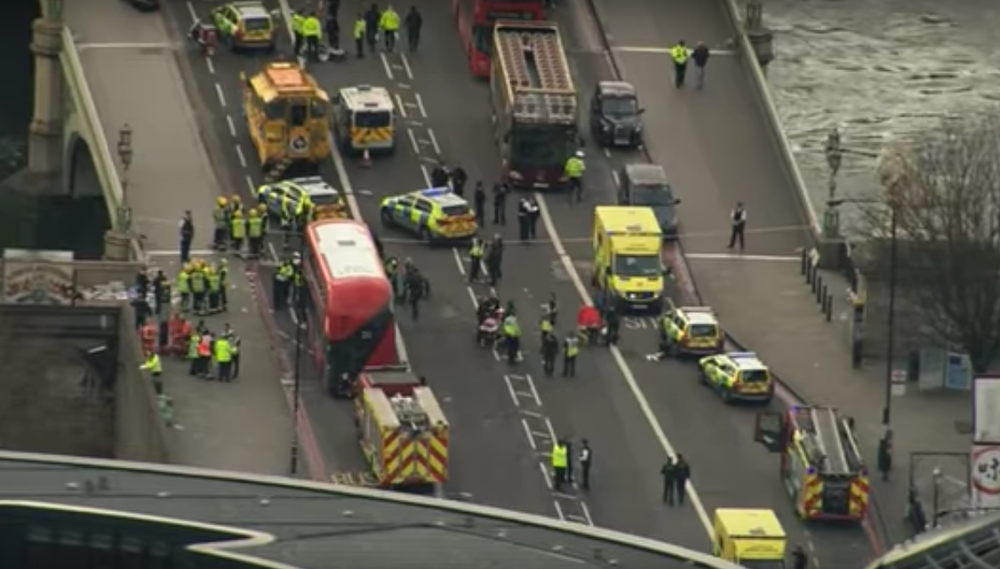 The scene in London after Wednesday's terror attack. Credit: YouTube.