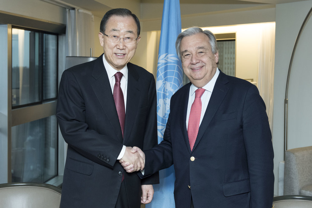 United Nations Secretary-General Antonio Guterres (right) meets with former Secretary-General Ban Ki-moon Jan. 2, 2017, in New York. Guterres recently disavowed a U.N. agency's report that accused Israel of apartheid. Credit: UN Photo/Mark Garten.