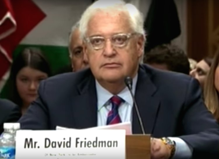 David Friedman, President Donald Trump's newly confirmed ambassador to Israel, during his Senate confirmation hearing. Credit: YouTube.