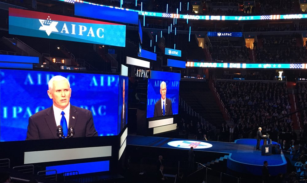 Vice President Mike Pence addresses the 2017 AIPAC Policy Conference Sunday. Credit: Brian Marcus.