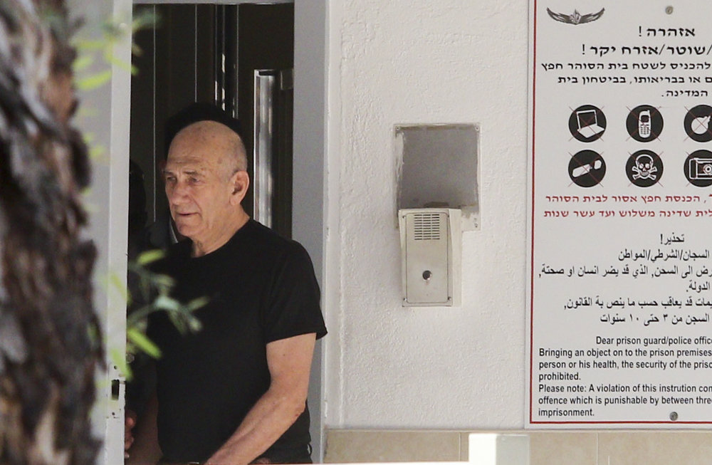 Former Israeli Prime Minister Ehud Olmert is seen leaving Maasiyahu Prison in Ramla, Israel, in July 2016. Credit: Avi Dishi/Flash90.