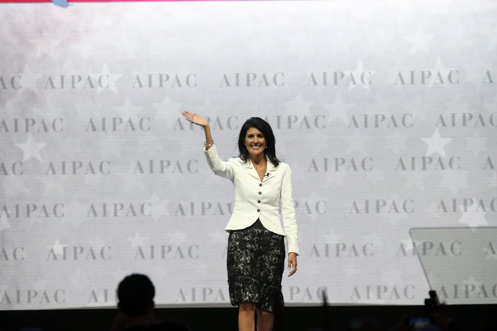 U.S. Ambassador to the U.N. Nikki Haley on stage at the AIPAC conference Monday. Credit: AIPAC.