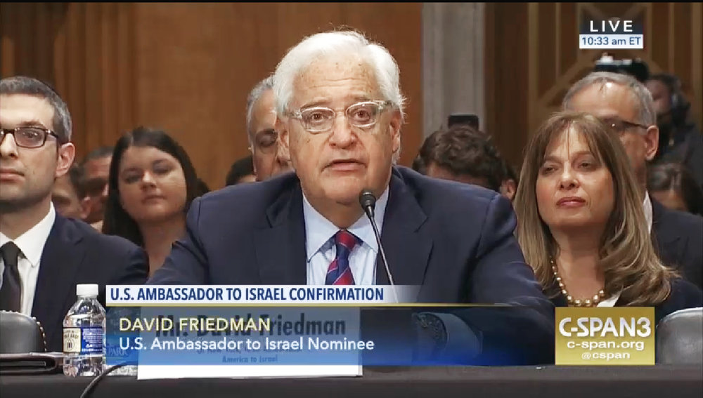 U.S. Ambassador to Israel David Friedman, then the nominee, testifies during his Senate Foreign Relations Committee hearing in February. Credit: C-SPAN via Wikimedia Commons.