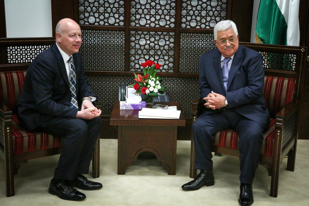 Palestinian Authority President Mahmoud Abbas (right) meets with Jason Greenblatt, President Donald Trump's international negotiations representative, in Ramallah March 14, 2017. Credit: Flash90.