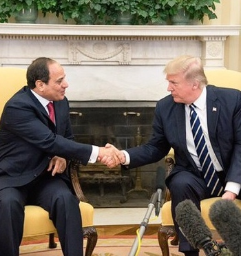 Egyptian President Abdel Fattah El-Sisi and President Donald Trump meet Monday. Credit: President Donald Trump via Twitter.