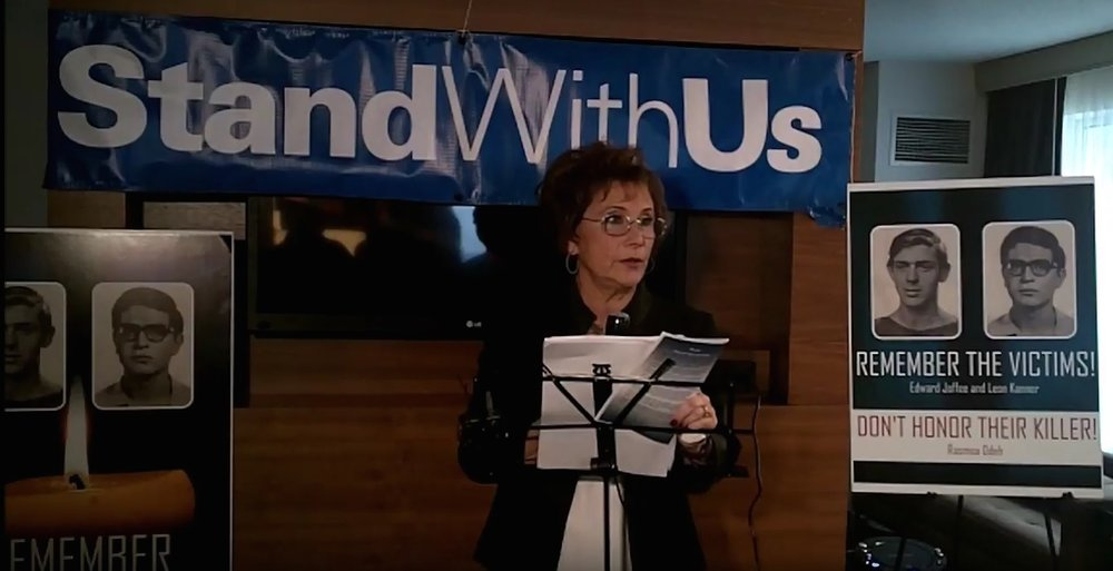 StandWithUs Midwest Director Peggy Shapiro speaks at Sunday's memorial in Chicago for Edward Joffe and Leon Kanner, the victims of Palestinian terrorist Rasmeah Odeh. Credit: Paul Miller.