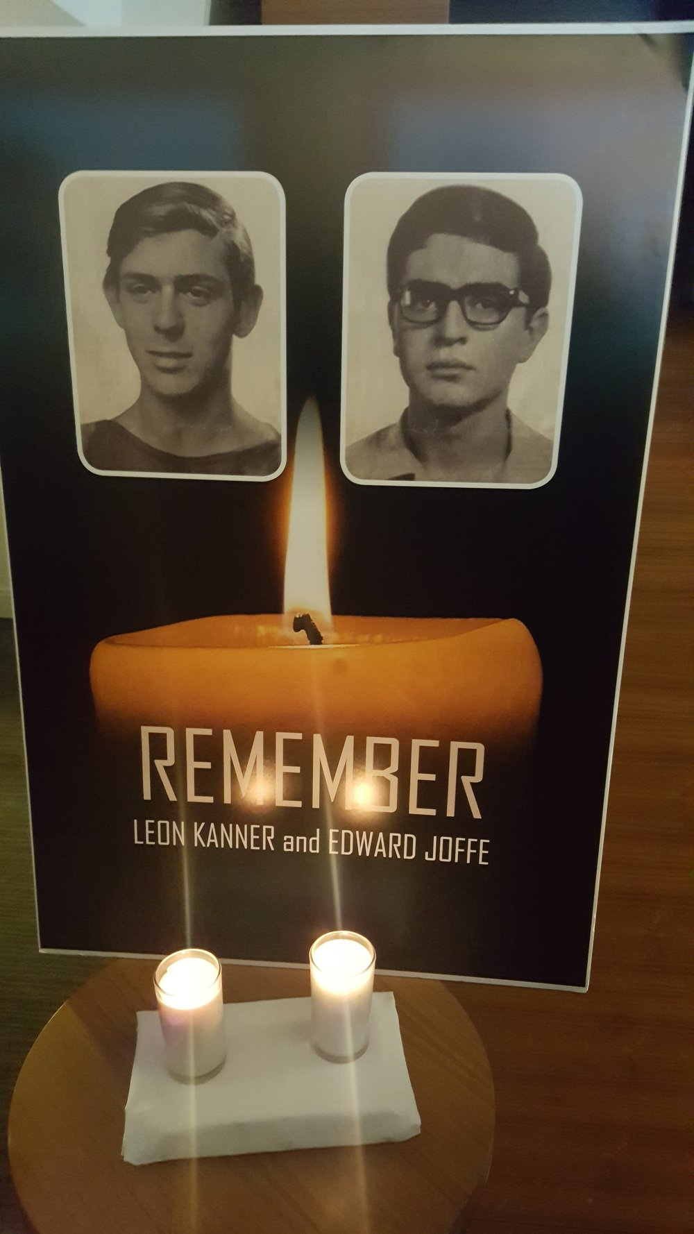 A poster for Leon Kanner and Edward Joffe, Palestinian terrorist Rasmeah Odeh's victims, at a memorial service Sunday in Chicago. Credit: Paul Miller.