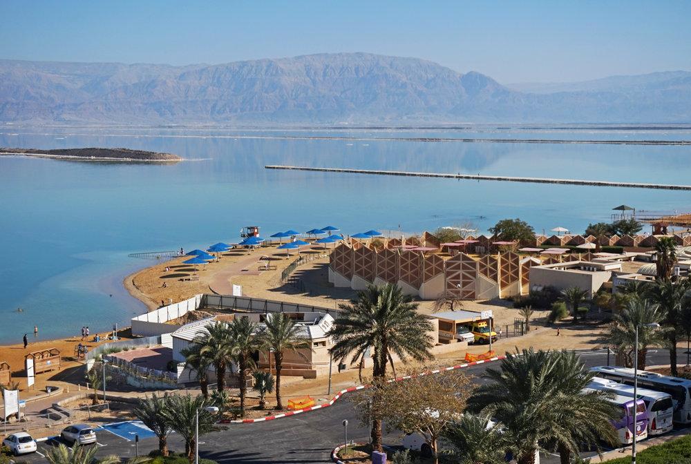 The Dead Sea's Ein Bokek beach district. Credit: Tiia Monto via Wikimedia Commons.