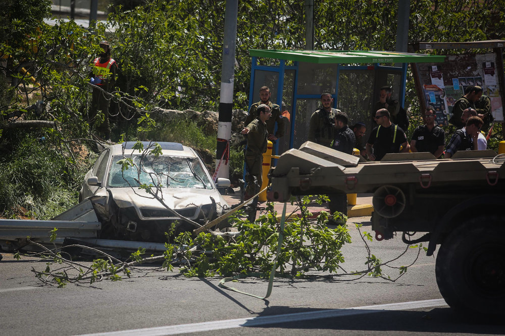 The scene of Thursday's Palestinian car-ramming terror attack in Judea and Samaria. Credit: Flash90.