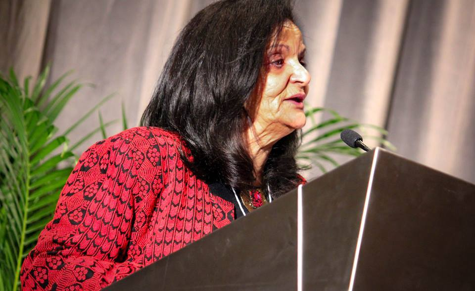 Convicted Palestinian terrorist Rasmea Odeh speaks at the recent Jewish Voice for Peace (JVP) conference in Chicago. Credit: JVP via Facebook.