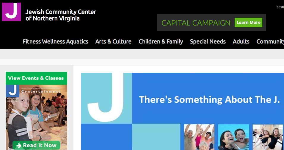 The JCC of Norther Virginia website. Credit: Screenshot.