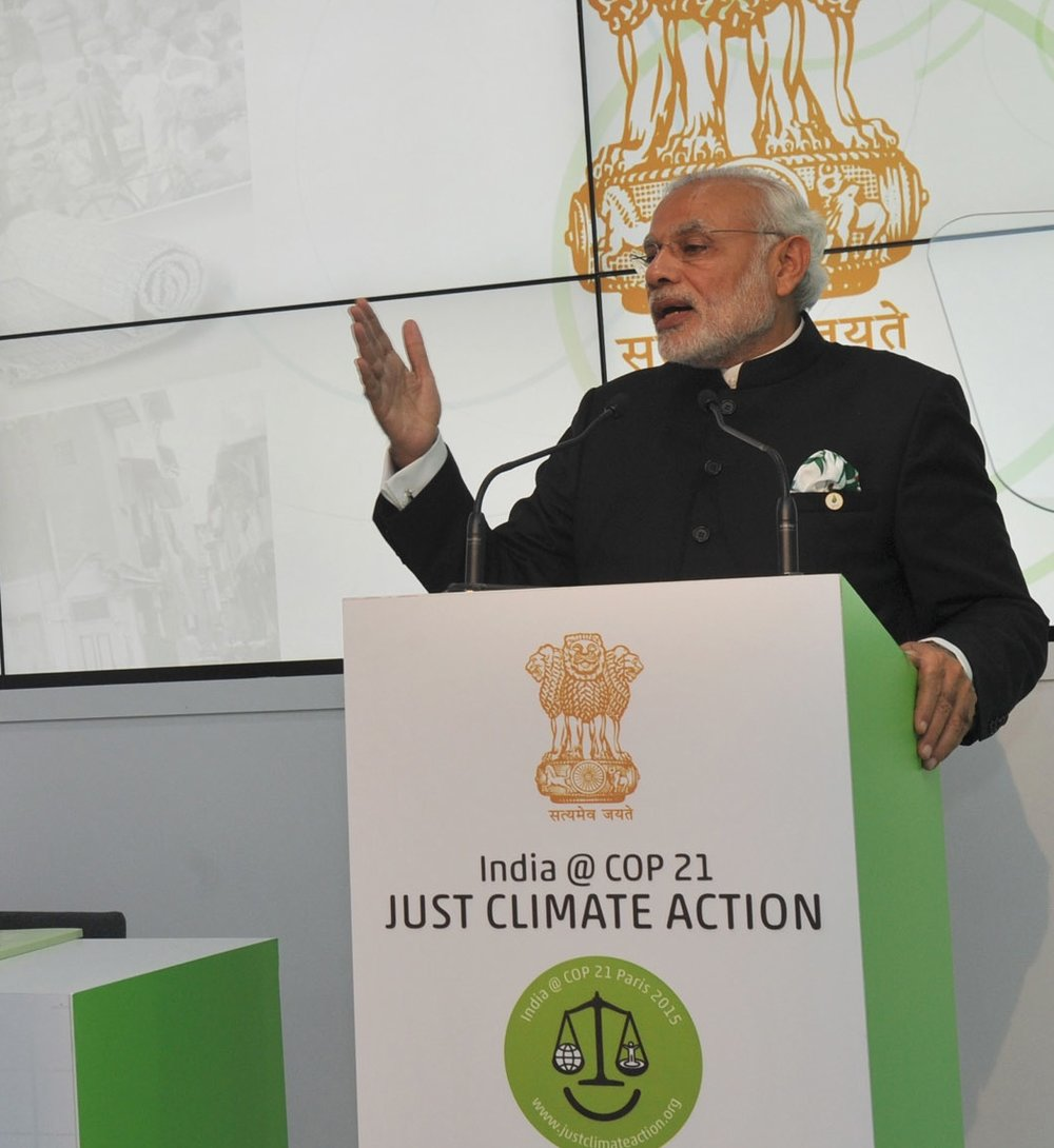 Indian Prime Minister Narendra Modi speaks at the CoP21 Climate Conference in Paris in November 2015. Credit: Indian Prime Minister's Office via Wikimedia Commons.