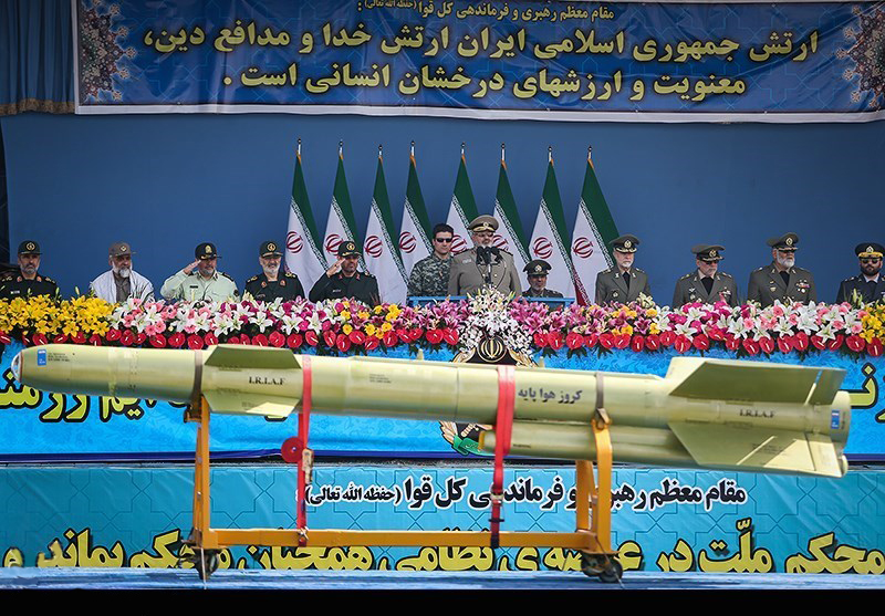 A cruise missile on display during a military ceremony in Iran. Credit: Hamed Malekpour via Wikimedia Commons.