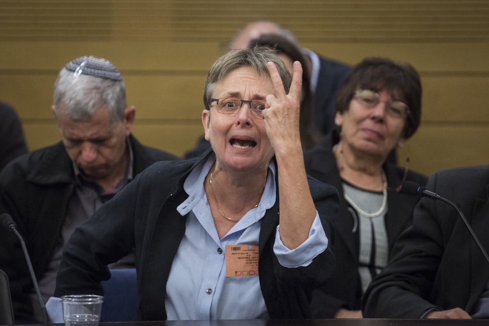 Dr. Leah Goldin, the mother of fallen Israeli soldier Hadar Goldin, gives emotional testimony during a Knesset committee hearing on the Israeli state comptroller's Operation Protective Edge report April 19, 2017. Credit: Hadas Parush/Flash90.